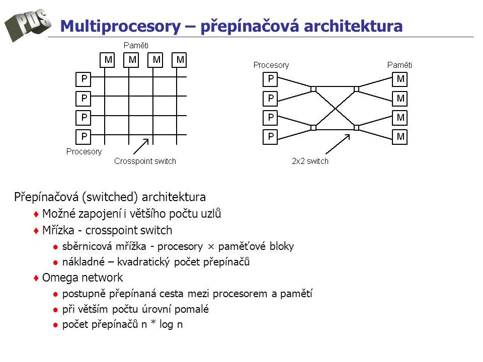Multiprocesory – přepínačová architektura Přepínačová (switched) architektura ♦ Možné zapojení i většího počtu uzlů ♦ Mřízka - crosspoint switch ● sbě