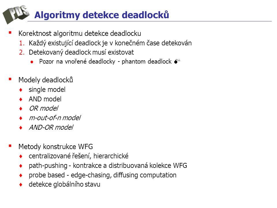 Algoritmy detekce deadlocků ▪ Korektnost algoritmu detekce deadlocku 1.Každý existující deadlock je v konečném čase detekován 2.Detekovaný deadlock musí existovat ●Pozor na vnořené deadlocky - phantom deadlock  ▪ Modely deadlocků ♦ single model ♦ AND model ♦ OR model ♦ m-out-of-n model ♦ AND-OR model ▪ Metody konstrukce WFG ♦ centralizované řešení, hierarchické ♦ path-pushing - kontrakce a distribuovaná kolekce WFG ♦ probe based - edge-chasing, diffusing computation ♦ detekce globálního stavu