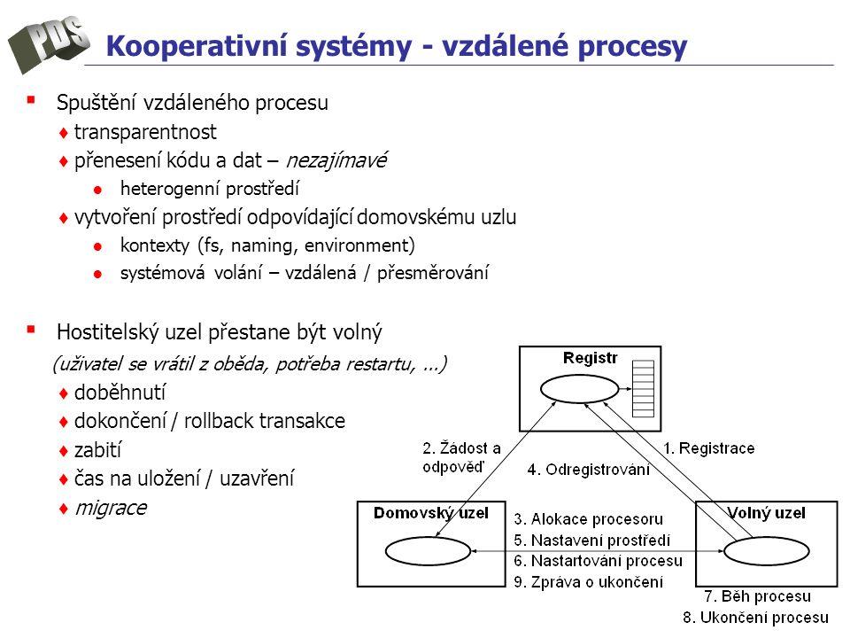 Kooperativní systémy - vzdálené procesy ▪ Spuštění vzdáleného procesu ♦ transparentnost ♦ přenesení kódu a dat – nezajímavé ●heterogenní prostředí ♦ v