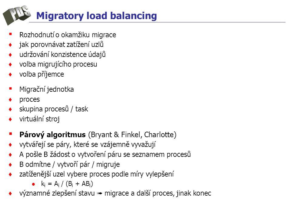 Migratory load balancing ▪ Rozhodnutí o okamžiku migrace ♦ jak porovnávat zatížení uzlů ♦ udržování konzistence údajů ♦ volba migrujícího procesu ♦ vo