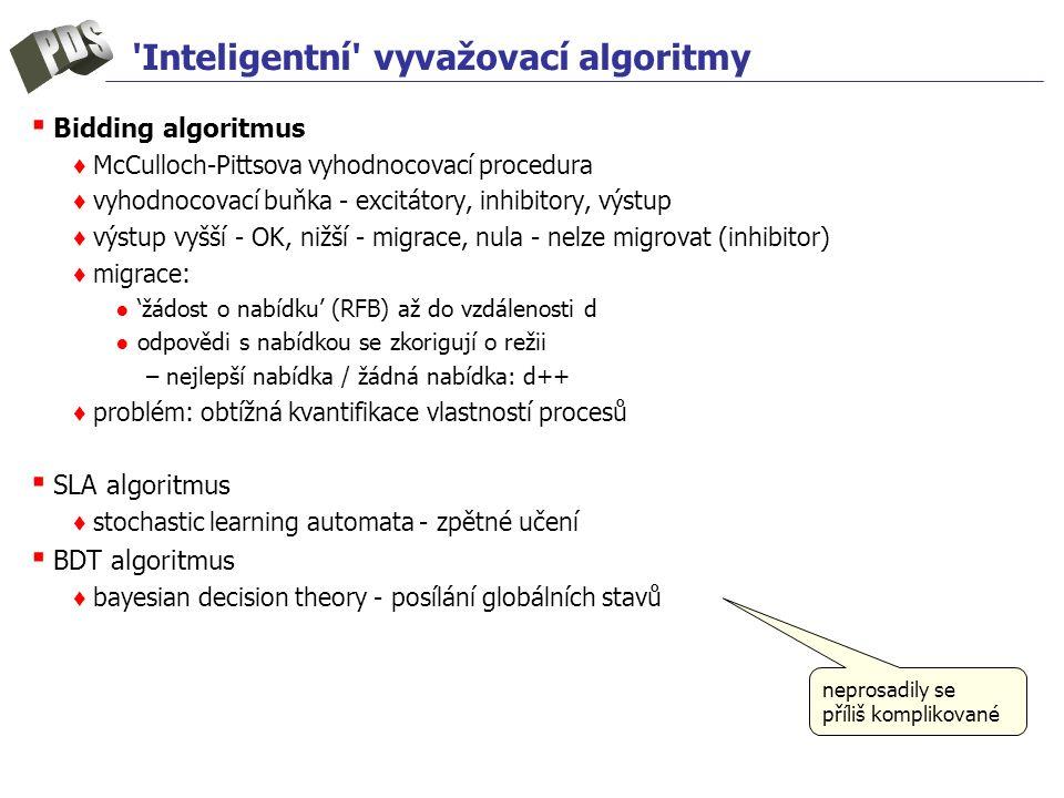 Inteligentní vyvažovací algoritmy ▪ Bidding algoritmus ♦ McCulloch-Pittsova vyhodnocovací procedura ♦ vyhodnocovací buňka - excitátory, inhibitory, výstup ♦ výstup vyšší - OK, nižší - migrace, nula - nelze migrovat (inhibitor) ♦ migrace: ● 'žádost o nabídku' (RFB) až do vzdálenosti d ● odpovědi s nabídkou se zkorigují o režii –nejlepší nabídka / žádná nabídka: d++ ♦ problém: obtížná kvantifikace vlastností procesů ▪ SLA algoritmus ♦ stochastic learning automata - zpětné učení ▪ BDT algoritmus ♦ bayesian decision theory - posílání globálních stavů neprosadily se příliš komplikované