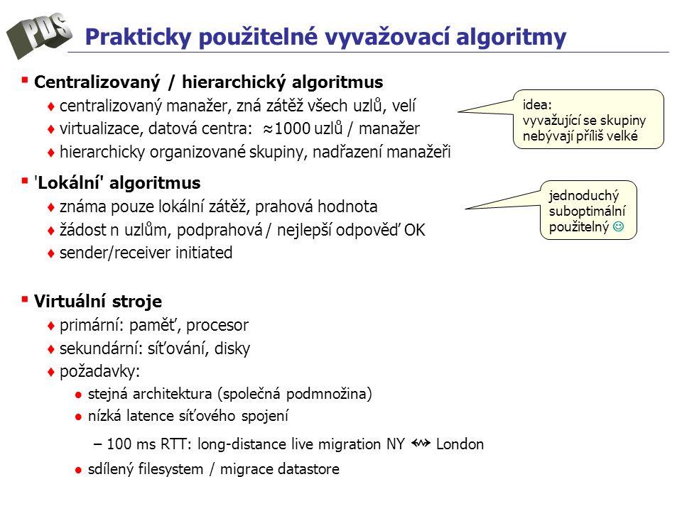 Prakticky použitelné vyvažovací algoritmy ▪ Centralizovaný / hierarchický algoritmus ♦ centralizovaný manažer, zná zátěž všech uzlů, velí ♦ virtualiza