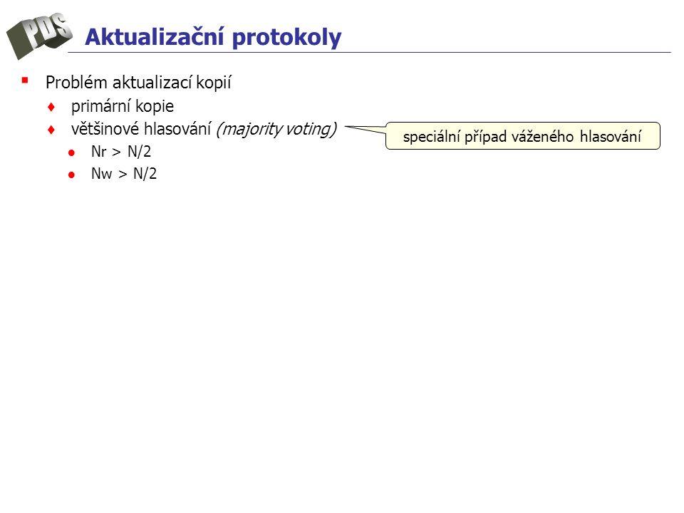 Aktualizační protokoly ▪ Problém aktualizací kopií ♦ primární kopie ♦ většinové hlasování (majority voting) ●Nr > N/2 ●Nw > N/2 speciální případ váženého hlasování