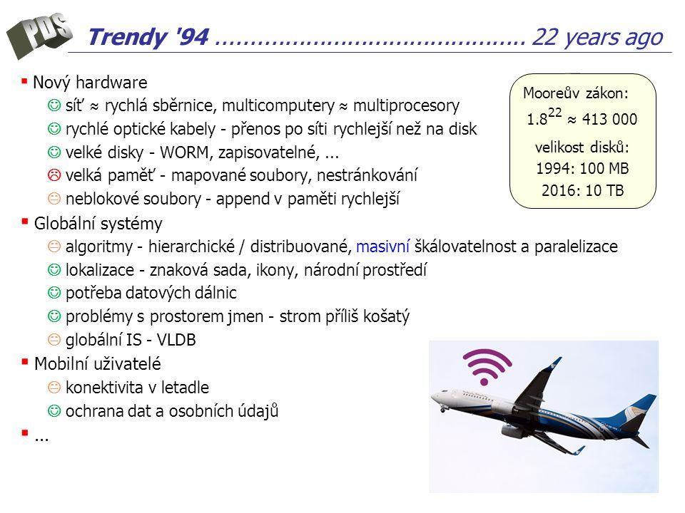 Trendy '94............................................. 22 years ago ▪ Nový hardware síť ≈ rychlá sběrnice, multicomputery ≈ multiprocesory rychlé opt