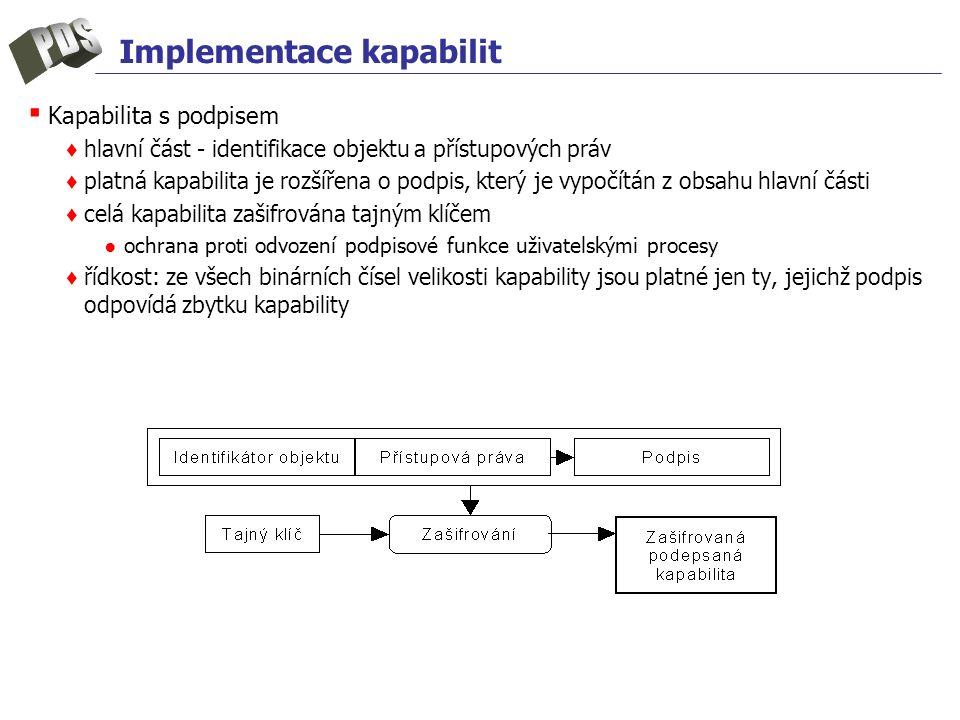 Implementace kapabilit ▪ Kapabilita s podpisem ♦ hlavní část - identifikace objektu a přístupových práv ♦ platná kapabilita je rozšířena o podpis, kte