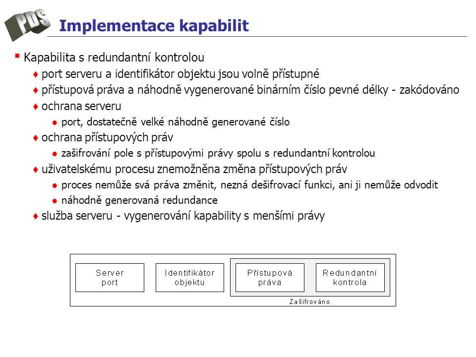 Implementace kapabilit ▪ Kapabilita s redundantní kontrolou ♦ port serveru a identifikátor objektu jsou volně přístupné ♦ přístupová práva a náhodně v
