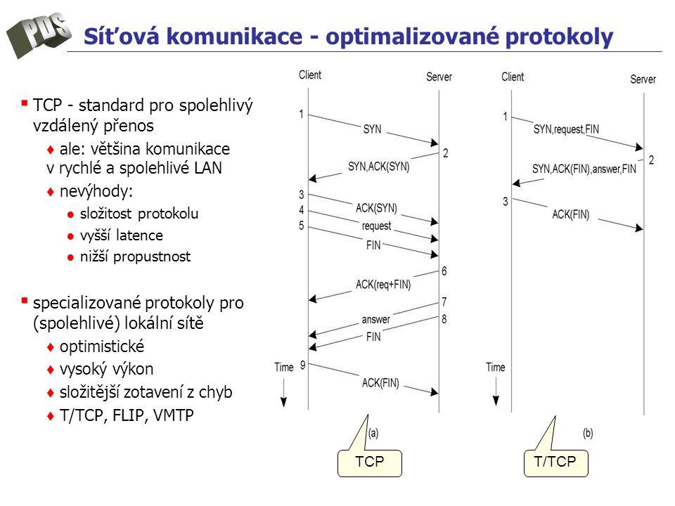 Síťová komunikace - optimalizované protokoly ▪ TCP - standard pro spolehlivý vzdálený přenos ♦ ale: většina komunikace v rychlé a spolehlivé LAN ♦ nev