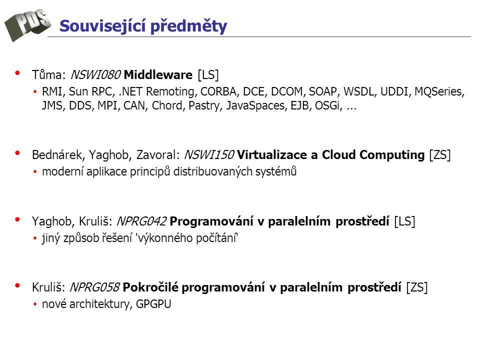 Související předměty Tůma: NSWI080 Middleware [LS] RMI, Sun RPC,.NET Remoting, CORBA, DCE, DCOM, SOAP, WSDL, UDDI, MQSeries, JMS, DDS, MPI, CAN, Chord, Pastry, JavaSpaces, EJB, OSGi,...