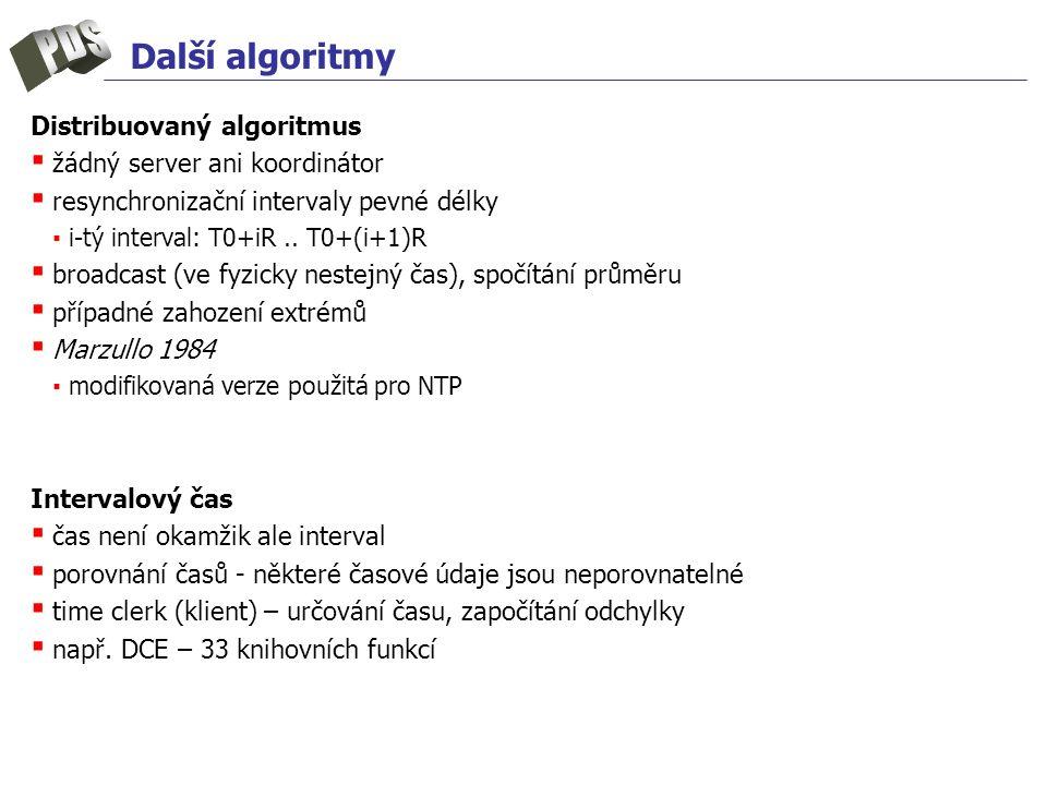 Další algoritmy Distribuovaný algoritmus ▪ žádný server ani koordinátor ▪ resynchronizační intervaly pevné délky ▪ i-tý interval: T0+iR..