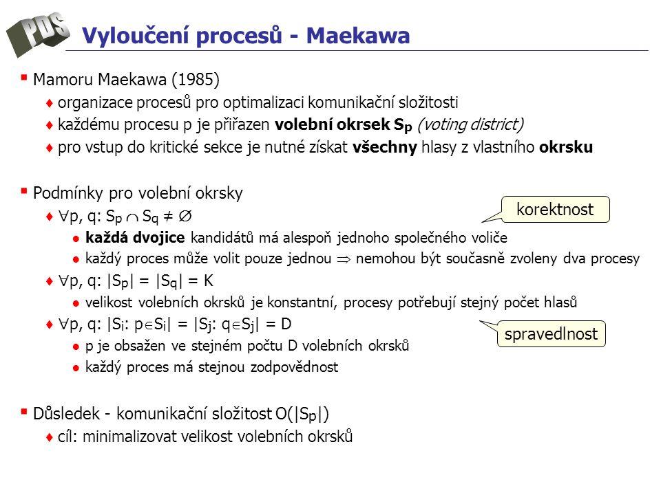 Vyloučení procesů - Maekawa ▪ Mamoru Maekawa (1985) ♦ organizace procesů pro optimalizaci komunikační složitosti ♦ každému procesu p je přiřazen volební okrsek S p (voting district) ♦ pro vstup do kritické sekce je nutné získat všechny hlasy z vlastního okrsku ▪ Podmínky pro volební okrsky ♦  p, q: S p  S q ≠  ● každá dvojice kandidátů má alespoň jednoho společného voliče ● každý proces může volit pouze jednou  nemohou být současně zvoleny dva procesy ♦  p, q: |S p | = |S q | = K ● velikost volebních okrsků je konstantní, procesy potřebují stejný počet hlasů ♦  p, q: |S i : p  S i | = |S j : q  S j | = D ● p je obsažen ve stejném počtu D volebních okrsků ● každý proces má stejnou zodpovědnost ▪ Důsledek - komunikační složitost O(|S p |) ♦ cíl: minimalizovat velikost volebních okrsků korektnost spravedlnost