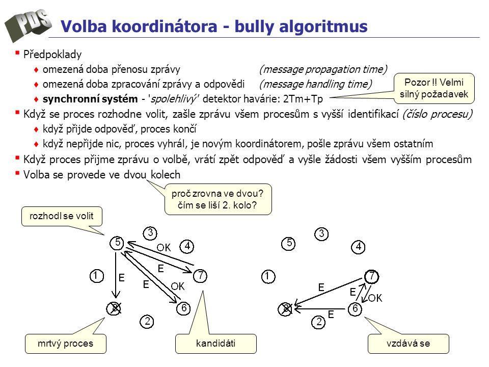 Volba koordinátora - bully algoritmus ▪ Předpoklady ♦ omezená doba přenosu zprávy (message propagation time) ♦ omezená doba zpracování zprávy a odpově