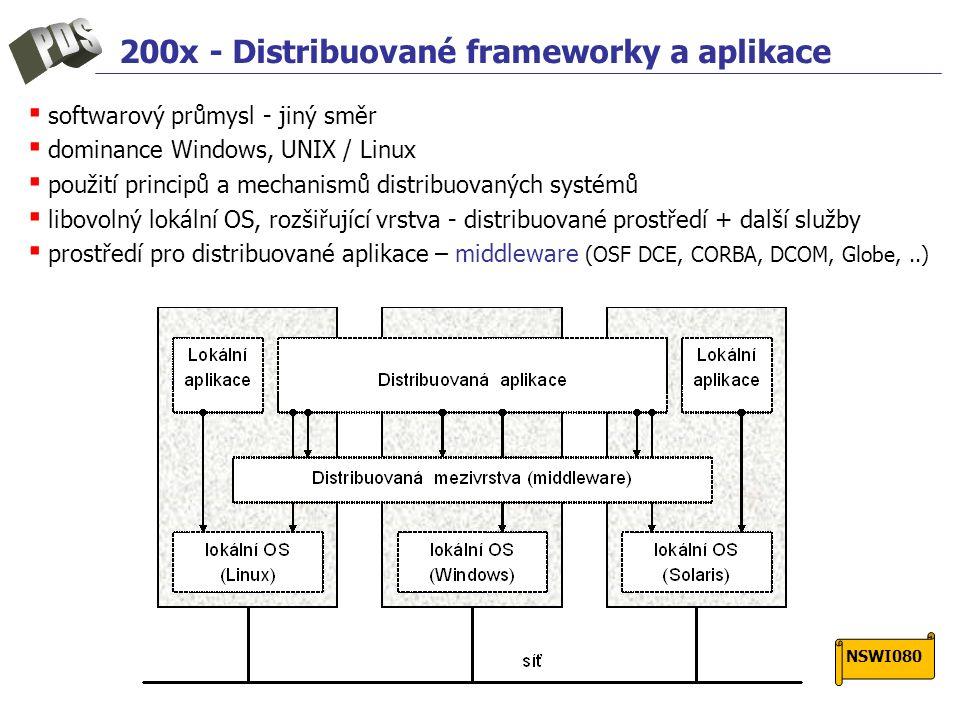 200x - Distribuované frameworky a aplikace ▪ softwarový průmysl - jiný směr ▪ dominance Windows, UNIX / Linux ▪ použití principů a mechanismů distribuovaných systémů ▪ libovolný lokální OS, rozšiřující vrstva - distribuované prostředí + další služby ▪ prostředí pro distribuované aplikace – middleware (OSF DCE, CORBA, DCOM, Globe,..) NSWI080