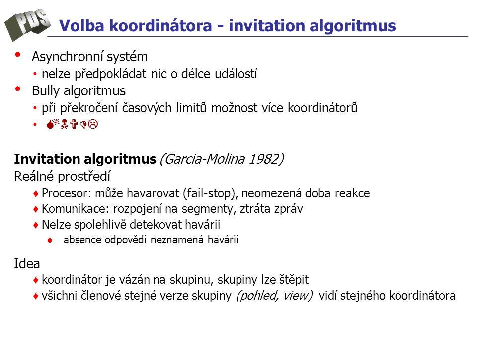 Volba koordinátora - invitation algoritmus Asynchronní systém nelze předpokládat nic o délce událostí Bully algoritmus při překročení časových limitů