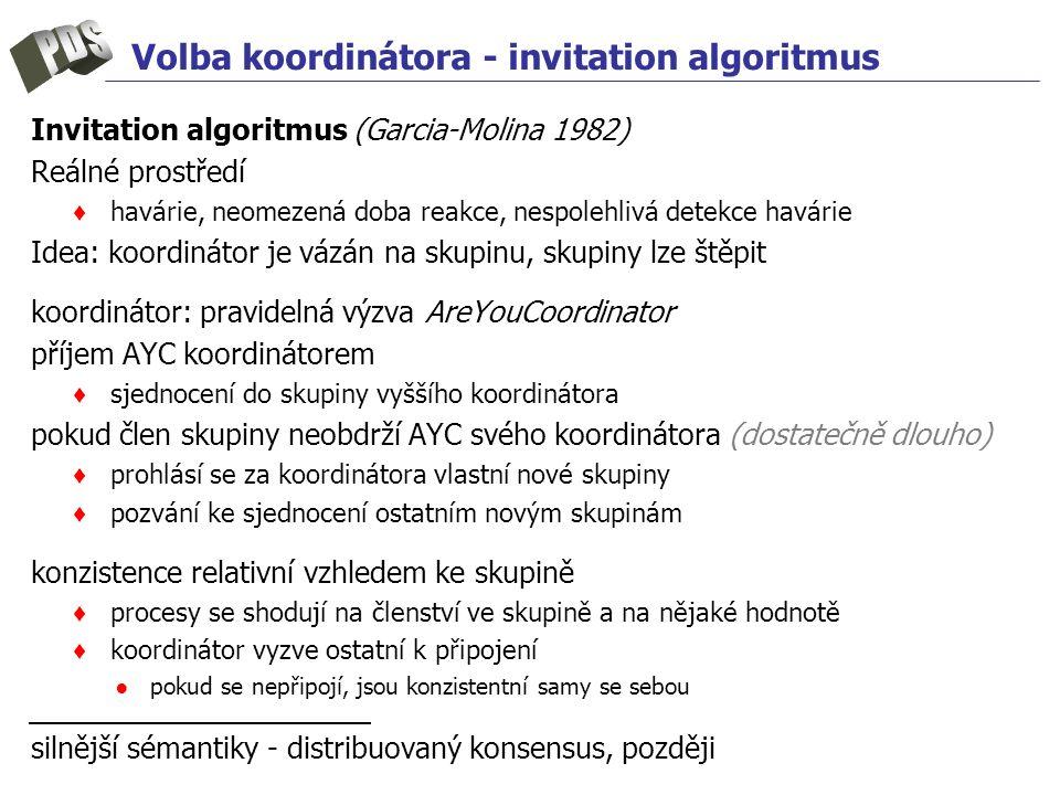Volba koordinátora - invitation algoritmus Invitation algoritmus (Garcia-Molina 1982) Reálné prostředí ♦ havárie, neomezená doba reakce, nespolehlivá