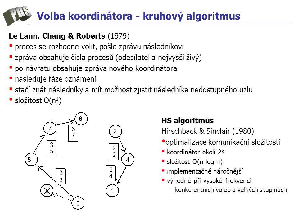 Volba koordinátora - kruhový algoritmus Le Lann, Chang & Roberts (1979) ▪ proces se rozhodne volit, pošle zprávu následníkovi ▪ zpráva obsahuje čísla procesů (odesílatel a nejvyšší živý) ▪ po návratu obsahuje zpráva nového koordinátora ▪ následuje fáze oznámení ▪ stačí znát následníky a mít možnost zjistit následníka nedostupného uzlu ▪ složitost O(n 2 ) HS algoritmus Hirschback & Sinclair (1980) optimalizace komunikační složitosti ▪ koordinátor okolí 2 k ▪ složitost O(n log n) ▪ implementačně náročnější ▪ výhodné při vysoké frekvenci konkurentních voleb a velkých skupinách
