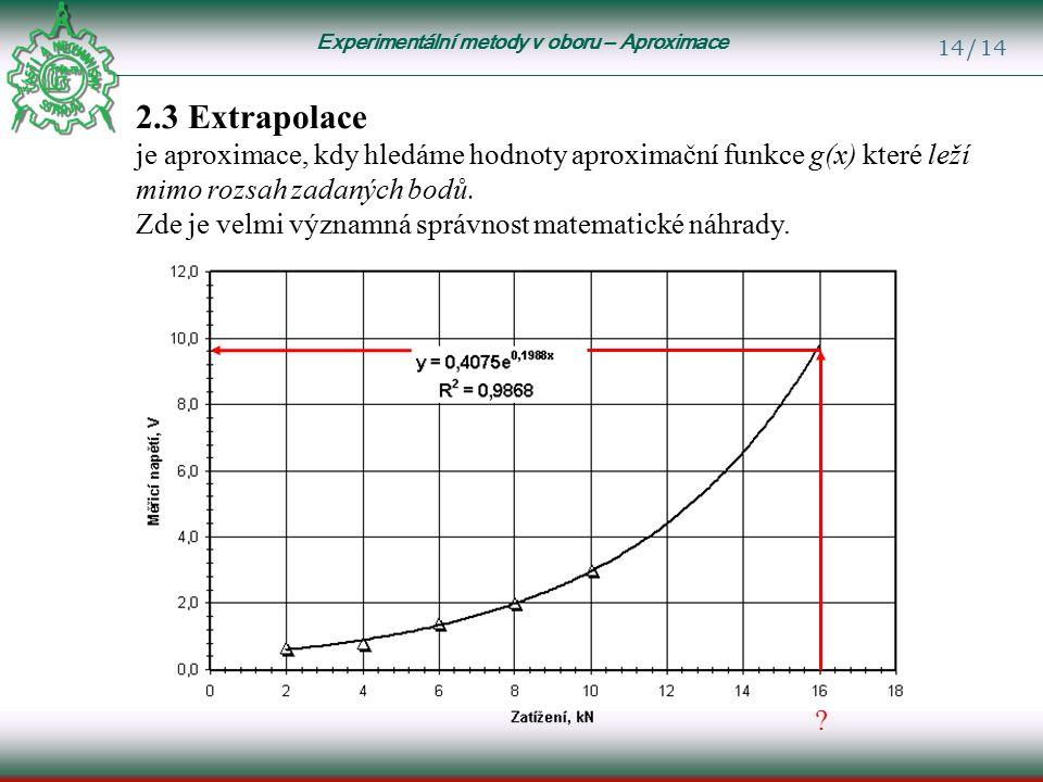 Experimentální metody v oboru – Aproximace 14/14 2.3 Extrapolace je aproximace, kdy hledáme hodnoty aproximační funkce g(x) které leží mimo rozsah zadaných bodů.