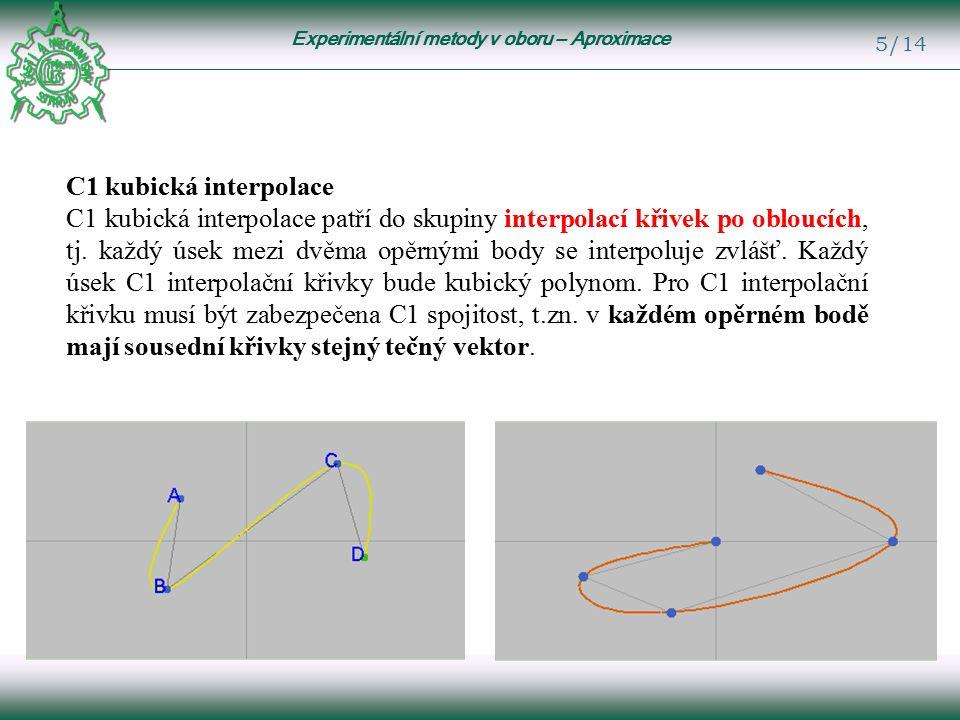 Experimentální metody v oboru – Aproximace 5/14 C1 kubická interpolace C1 kubická interpolace patří do skupiny interpolací křivek po obloucích, tj.