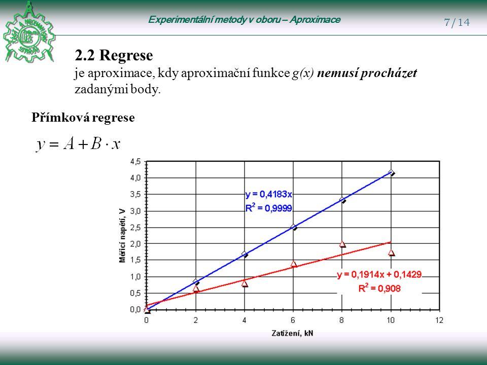 Experimentální metody v oboru – Aproximace 7/14 2.2 Regrese je aproximace, kdy aproximační funkce g(x) nemusí procházet zadanými body.