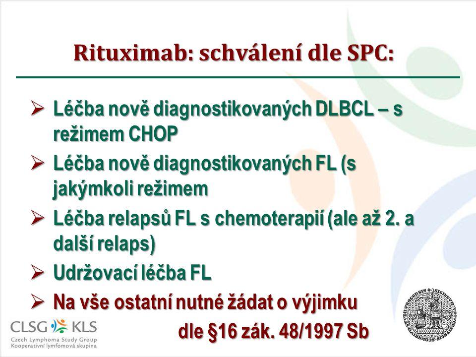 Rituximab: schválení dle SPC:  Léčba nově diagnostikovaných DLBCL – s režimem CHOP  Léčba nově diagnostikovaných FL (s jakýmkoli režimem  Léčba relapsů FL s chemoterapií (ale až 2.