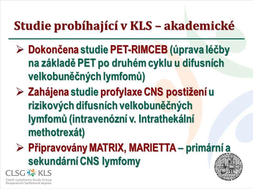 Studie probíhající v KLS – akademické  Dokončena studie PET-RIMCEB (úprava léčby na základě PET po druhém cyklu u difusních velkobuněčných lymfomů) 