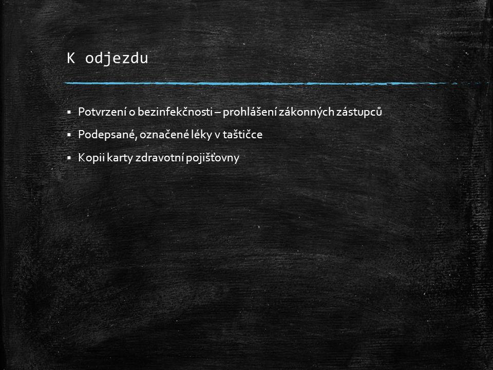 K odjezdu  Potvrzení o bezinfekčnosti – prohlášení zákonných zástupců  Podepsané, označené léky v taštičce  Kopii karty zdravotní pojišťovny