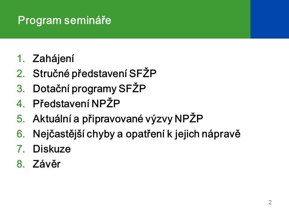 Program semináře 1.Zahájení 2.Stručné představení SFŽP 3.Dotační programy SFŽP 4.Představení NPŽP 5.Aktuální a připravované výzvy NPŽP 6.Nejčastější chyby a opatření k jejich nápravě 7.Diskuze 8.Závěr 2