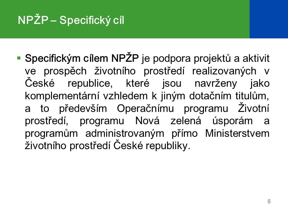 NPŽP – Specifický cíl  Specifickým cílem NPŽP je podpora projektů a aktivit ve prospěch životního prostředí realizovaných v České republice, které jsou navrženy jako komplementární vzhledem k jiným dotačním titulům, a to především Operačnímu programu Životní prostředí, programu Nová zelená úsporám a programům administrovaným přímo Ministerstvem životního prostředí České republiky.