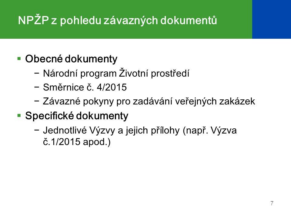 NPŽP z pohledu závazných dokumentů  Obecné dokumenty −Národní program Životní prostředí −Směrnice č.