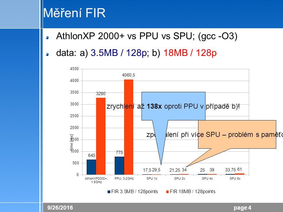 26.9.2016 page 4 Měření FIR AthlonXP 2000+ vs PPU vs SPU; (gcc -O3) data: a) 3.5MB / 128p; b) 18MB / 128p zpomalení při více SPU – problém s paměťovou