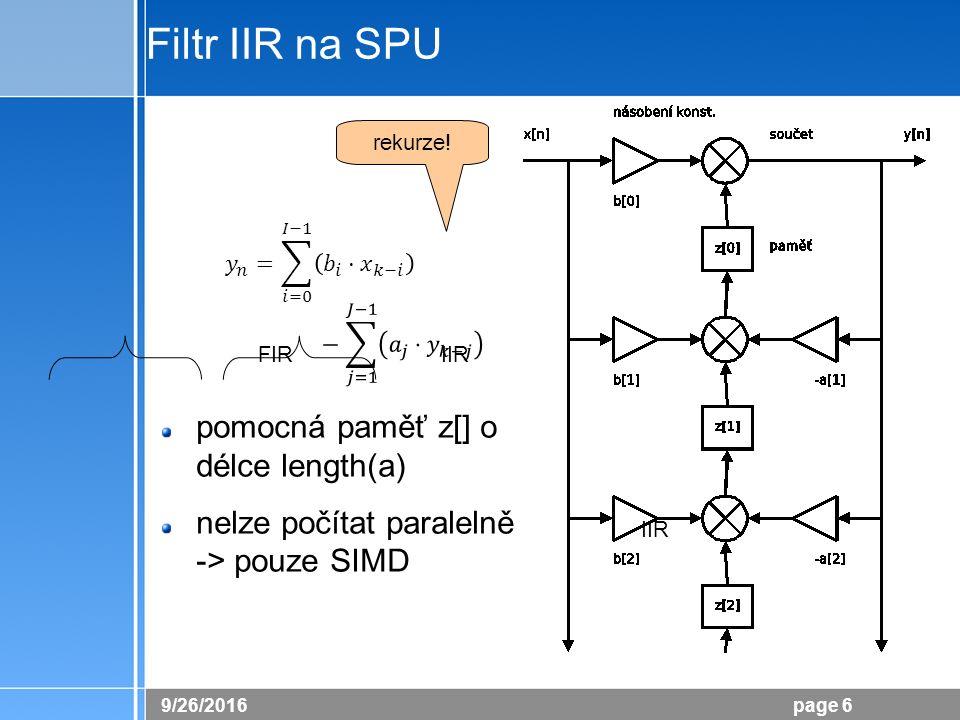 26.9.2016 page 6 Filtr IIR na SPU pomocná paměť z[] o délce length(a) nelze počítat paralelně -> pouze SIMD FIR IIR rekurze!