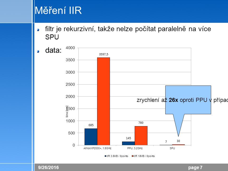 26.9.2016 page 7 Měření IIR filtr je rekurzivní, takže nelze počítat paralelně na více SPU data: a) 3.5MB / 8p; b) 18MB / 8p zrychlení až 26x oproti P