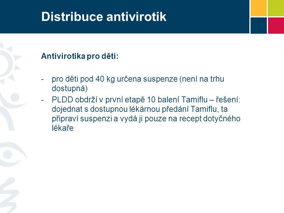 Distribuce antivirotik Antivirotika pro děti: -pro děti pod 40 kg určena suspenze (není na trhu dostupná) -PLDD obdrží v první etapě 10 balení Tamiflu – řešení: dojednat s dostupnou lékárnou předání Tamiflu, ta připraví suspenzi a vydá ji pouze na recept dotyčného lékaře
