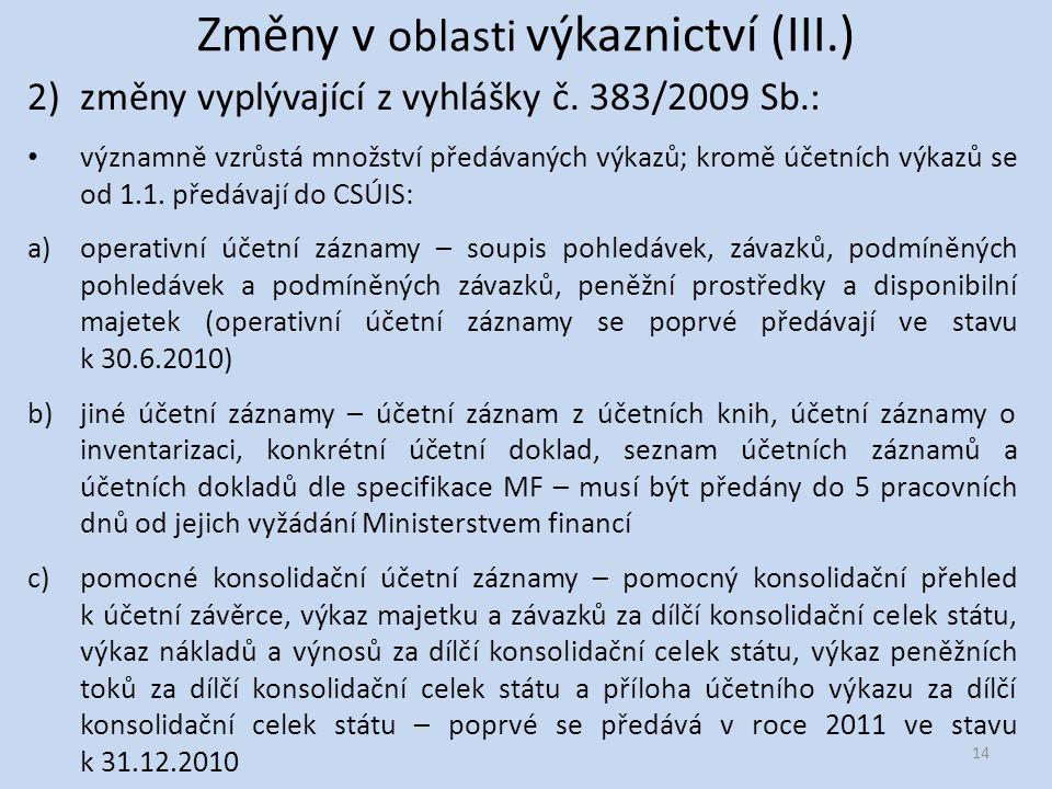Změny v oblasti výkaznictví (III.) 2)změny vyplývající z vyhlášky č.