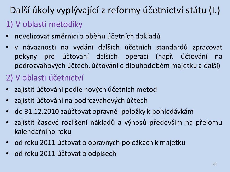 Další úkoly vyplývající z reformy účetnictví státu (I.) 1) V oblasti metodiky novelizovat směrnici o oběhu účetních dokladů v návaznosti na vydání dalších účetních standardů zpracovat pokyny pro účtování dalších operací (např.