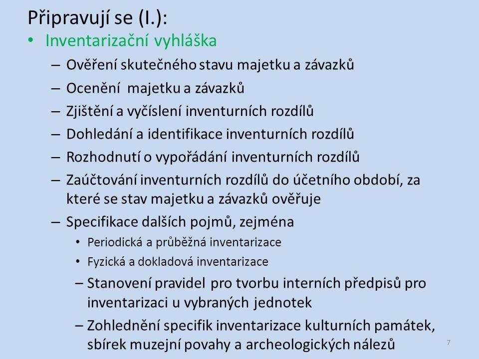 Připravují se (II.): Konsolidační vyhláška – Vymezení účetních výkazů za ČR a jejich členění na tyto části Souhrnný výkaz majetku a závazků státu Souhrnný výkaz nákladů a výnosů státu Výkaz peněžních toků Přílohu –Stanovení povinnosti součinnosti účetním jednotkám zahrnutým do dílčích konsolidačních celků s účetní jednotkou sestavující konsolidované účetní výkazy –Rozsah a způsob sestavování účetních výkazů za ČR a účetních výkazů za dílčí konsolidační celky státu –Uspořádání, označování a obsahové vymezení položek účetních výkazů –Uspořádání a obsahové vymezení vysvětlujících a doplňujících informací v příloze účetních výkazů za ČR 8