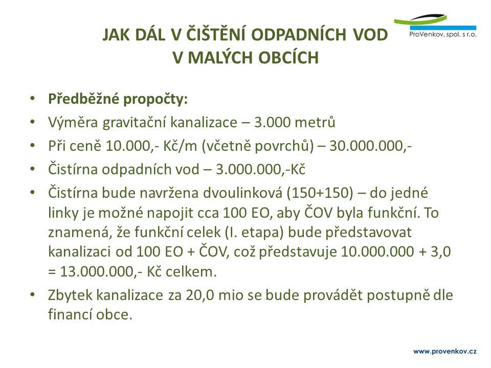 Předběžné propočty: Výměra gravitační kanalizace – 3.000 metrů Při ceně 10.000,- Kč/m (včetně povrchů) – 30.000.000,- Čistírna odpadních vod – 3.000.0