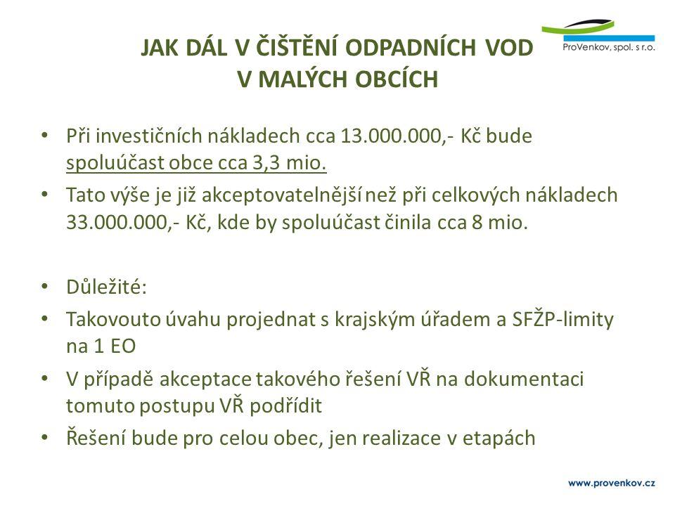 JAK DÁL V ČIŠTĚNÍ ODPADNÍCH VOD V MALÝCH OBCÍCH Při investičních nákladech cca 13.000.000,- Kč bude spoluúčast obce cca 3,3 mio.