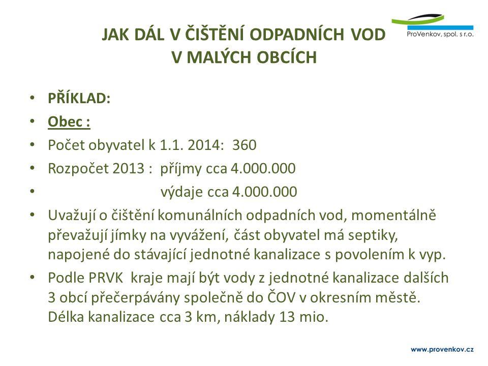 JAK DÁL V ČIŠTĚNÍ ODPADNÍCH VOD V MALÝCH OBCÍCH PŘÍKLAD: Obec : Počet obyvatel k 1.1. 2014: 360 Rozpočet 2013 : příjmy cca 4.000.000 výdaje cca 4.000.