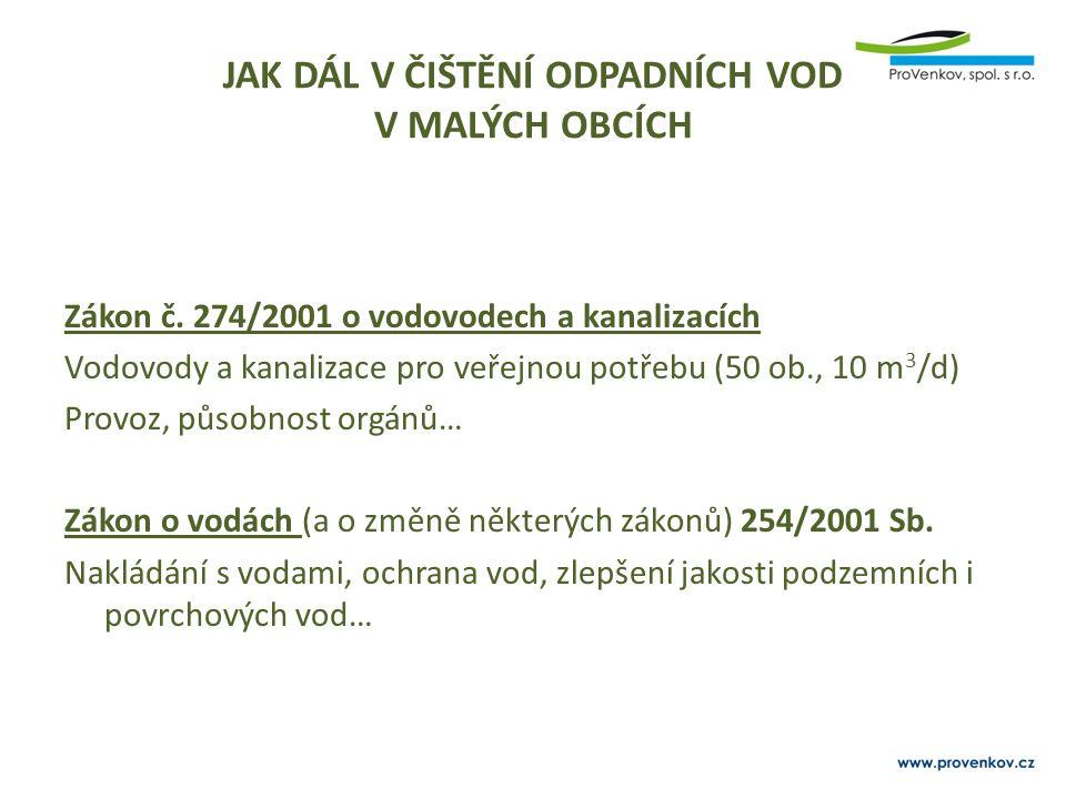 JAK DÁL V ČIŠTĚNÍ ODPADNÍCH VOD V MALÝCH OBCÍCH Zákon č. 274/2001 o vodovodech a kanalizacích Vodovody a kanalizace pro veřejnou potřebu (50 ob., 10 m