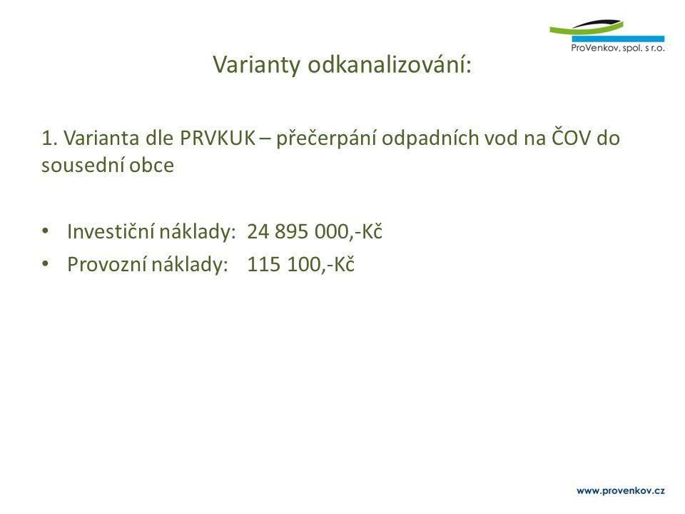 Varianty odkanalizování: 1. Varianta dle PRVKUK – přečerpání odpadních vod na ČOV do sousední obce Investiční náklady:24 895 000,-Kč Provozní náklady: