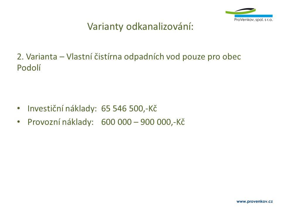 Varianty odkanalizování: 2. Varianta – Vlastní čistírna odpadních vod pouze pro obec Podolí Investiční náklady:65 546 500,-Kč Provozní náklady:600 000