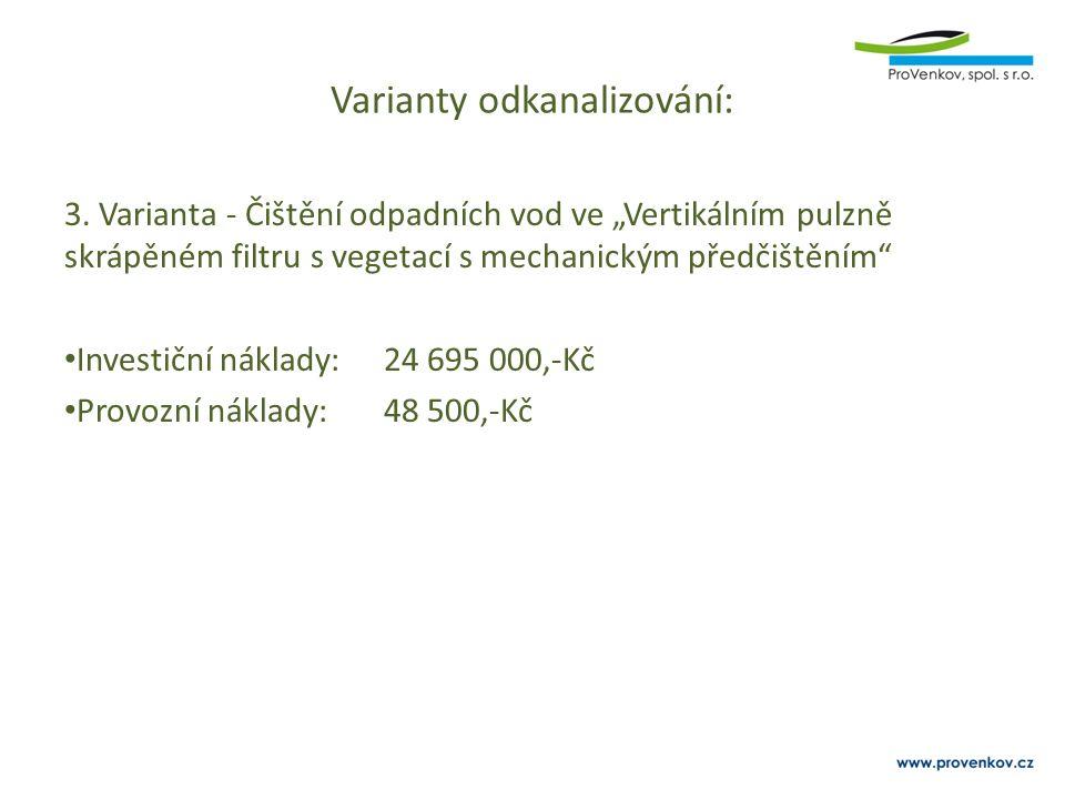"""Varianty odkanalizování: 3. Varianta - Čištění odpadních vod ve """"Vertikálním pulzně skrápěném filtru s vegetací s mechanickým předčištěním"""" Investiční"""