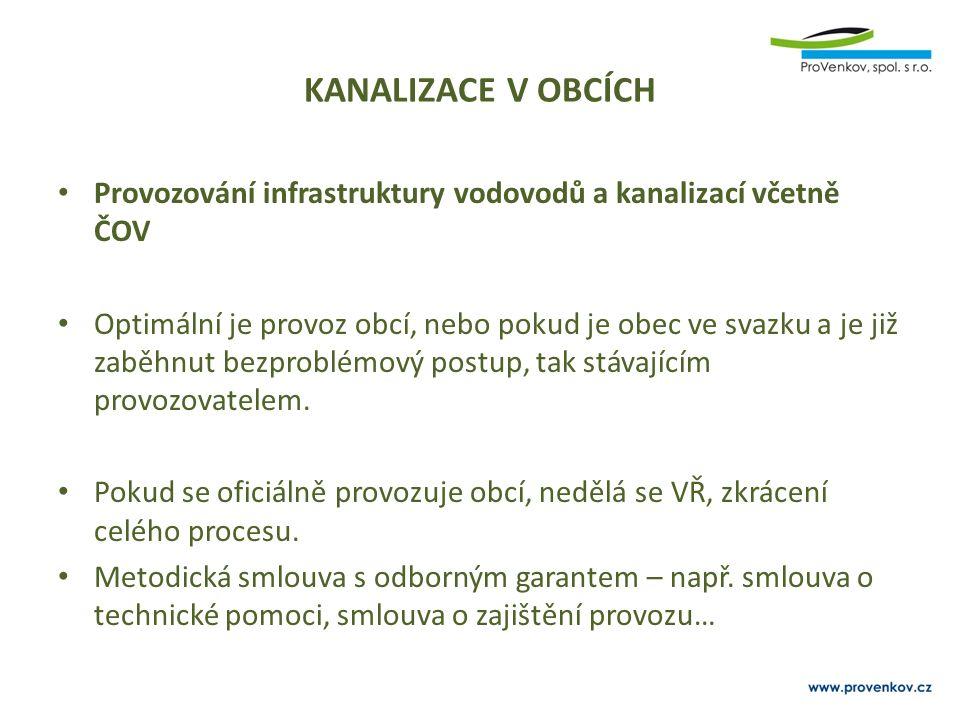 KANALIZACE V OBCÍCH Provozování infrastruktury vodovodů a kanalizací včetně ČOV Optimální je provoz obcí, nebo pokud je obec ve svazku a je již zaběhnut bezproblémový postup, tak stávajícím provozovatelem.