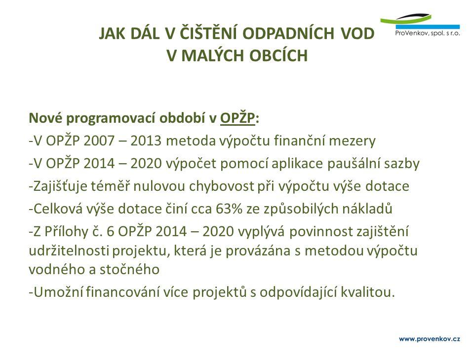 JAK DÁL V ČIŠTĚNÍ ODPADNÍCH VOD V MALÝCH OBCÍCH Nové programovací období v OPŽP: -V OPŽP 2007 – 2013 metoda výpočtu finanční mezery -V OPŽP 2014 – 202
