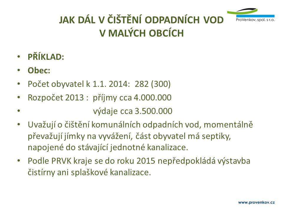 JAK DÁL V ČIŠTĚNÍ ODPADNÍCH VOD V MALÝCH OBCÍCH PŘÍKLAD: Obec: Počet obyvatel k 1.1. 2014: 282 (300) Rozpočet 2013 : příjmy cca 4.000.000 výdaje cca 3