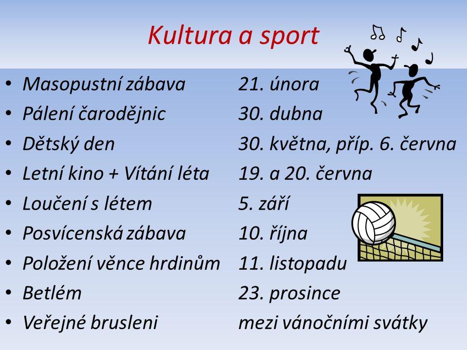 Kultura a sport Masopustní zábava 21. února Pálení čarodějnic 30.