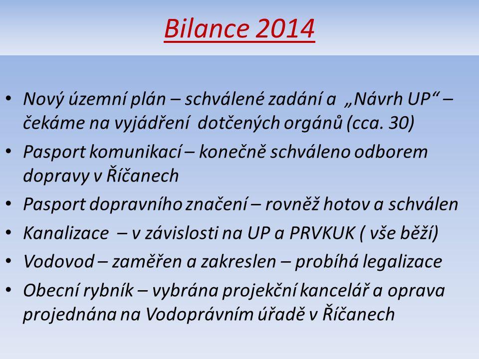 """Bilance 2014 Nový územní plán – schválené zadání a """"Návrh UP – čekáme na vyjádření dotčených orgánů (cca."""
