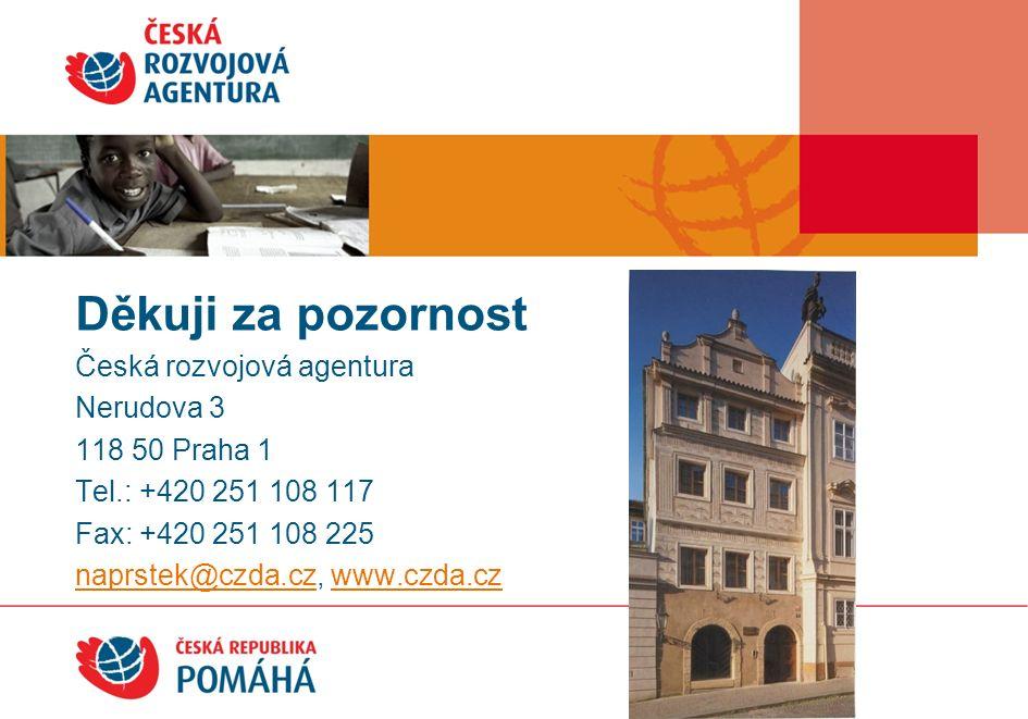 Česká rozvojová agentura Nerudova 3 118 50 Praha 1 Tel.: +420 251 108 117 Fax: +420 251 108 225 naprstek@czda.cznaprstek@czda.cz, www.czda.czwww.czda.cz Děkuji za pozornost!