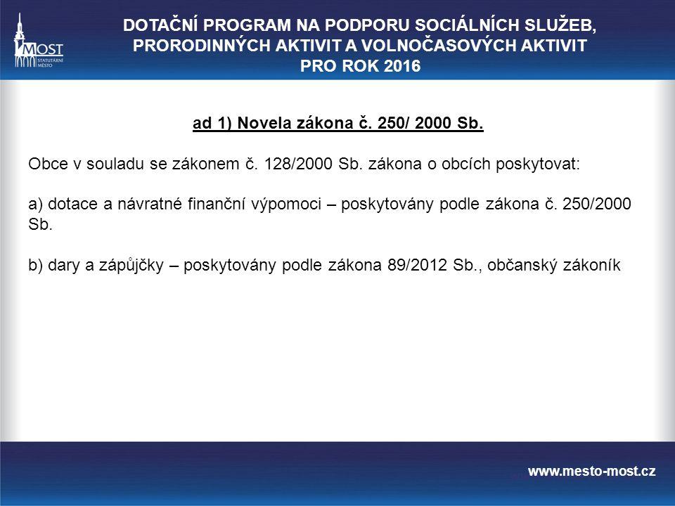 www.mesto-most.cz ad 1) Novela zákona č. 250/ 2000 Sb.
