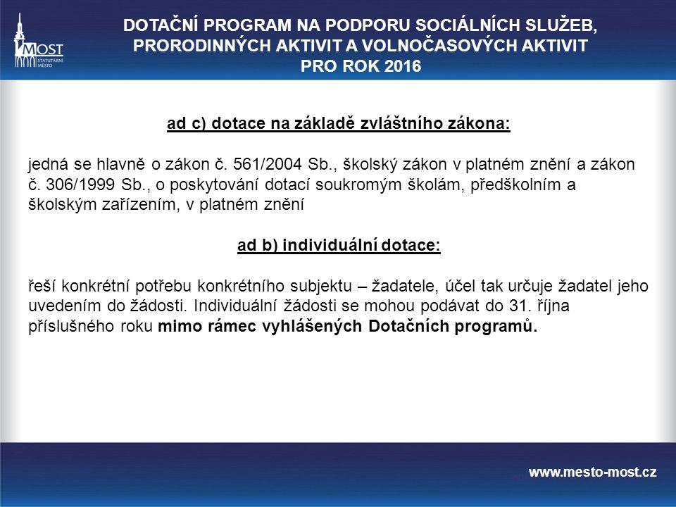 www.mesto-most.cz ad a) programové dotace: Pravidla ID_PZmM_10 vymezují následující oblasti dotačních programů: 1.na podporu kultury 2.na podporu sportu 3.na podporu prorodinných aktivit 4.na podporu sociálních služeb 5.na podporu národnostních menšin 6.na podporu komunitní práce a na zmírňování následků sociálního vyloučení v sociálně vyloučených lokalitách 7.na podporu prevence kriminality 8.na podporu volnočasových aktivit DOTAČNÍ PROGRAM NA PODPORU SOCIÁLNÍCH SLUŽEB, PRORODINNÝCH AKTIVIT A VOLNOČASOVÝCH AKTIVIT PRO ROK 2016